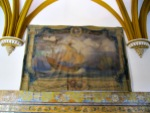 Giant tapestry in the Alcázar of the first journey of Columbus